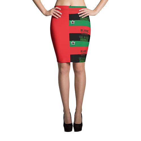 """Women's Red Pan African ""Black Love or Stay Single"" Pencil Skirt"