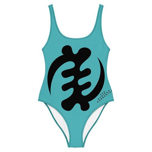 Blue Gye Nyame Adinkra One-Piece Swimsuit