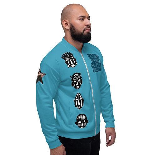 "Blue Quad Mask ""Black Love or Stay Single"" Unisex Bomber Jacket"