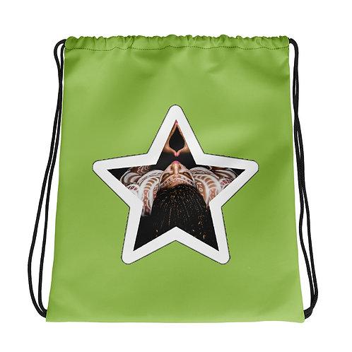 Lime Green Afrikan Superstar Drawstring bag