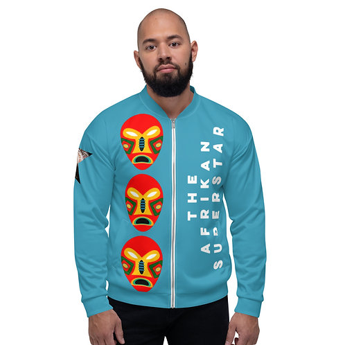 Blue Flame Mask Unisex Bomber Jacket