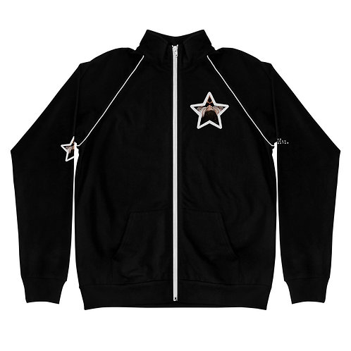 Black Logo Afrikan Superstar Piped Fleece Jacket