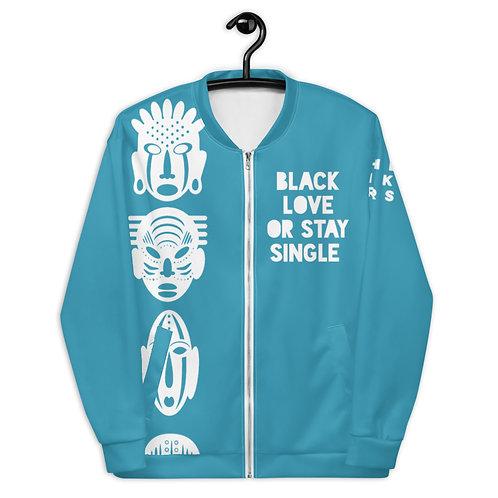 """Blue Quad Mask """"Black love or Stay Single"""" Unisex Bomber Jacket"""