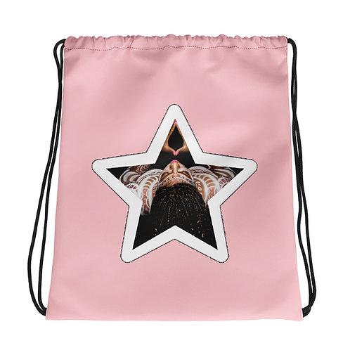 Light Pink Afrikan Superstar Drawstring bag