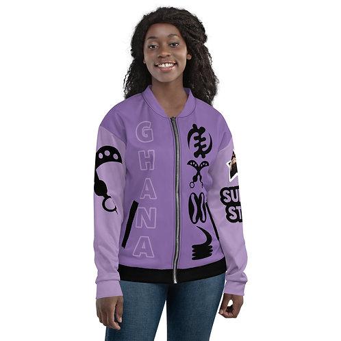 Afrikansuperstar X Ghana Purple Varsity Adinkra Bomber Jacket