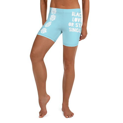 "Blue Quad Mask ""Black Love or Stay Single"" Shorts"