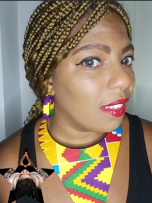 Kente Slay Necklace & Earrings Set