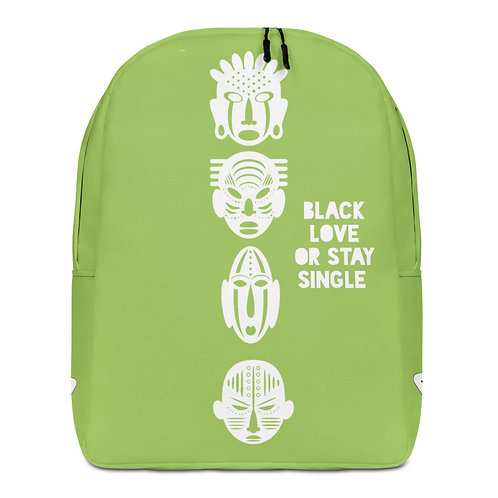 "Light Green Quad Mask ""Black Love or Stay Single"" Minimalist Backpack"