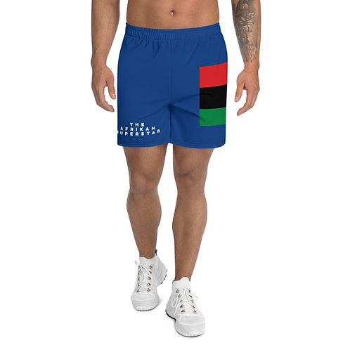 Blue Pan African Men's Athletic Long Shorts