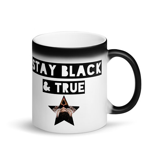 """Stay Black & True"" Matte Black Magic Mug"