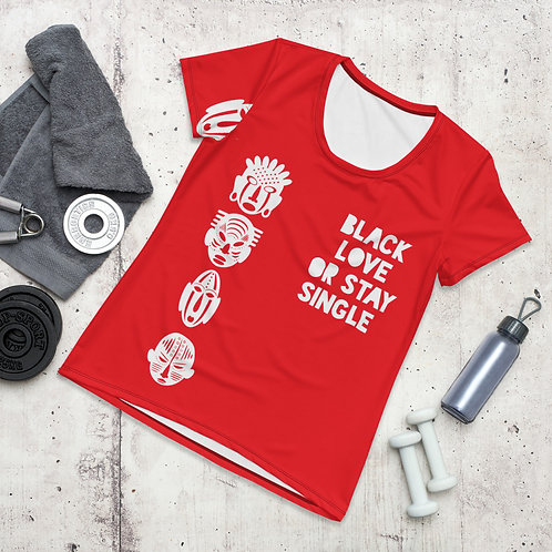 """Red Quad """"Black Love or Stay"""" Women's Athletic T-shirt"""