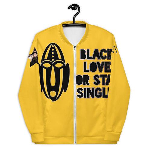 "Yellow Warrior Mask ""Black Love or Stay Single"" Unisex Bomber Jacket"