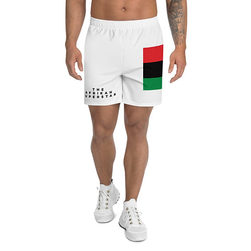 White Pan African Men's Athletic Long Shorts