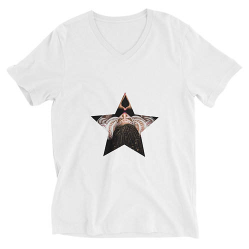 White Logo Afrikan Superstar Unisex Short Sleeve V-Neck T-Shirt