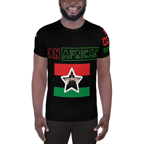 Black All-Over Print Men's Athletic T-shirt