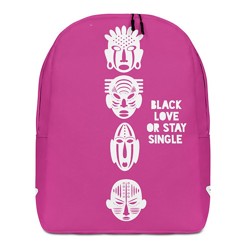 "Pink Quad ""Black Love or Stay Single"" Minimalist Backpack"