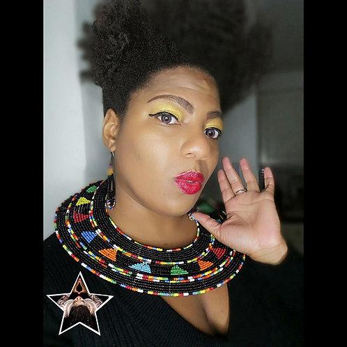 "Black Multi ""Tribal Respect"" Maasai Statement Collar Necklace & Earring Set"