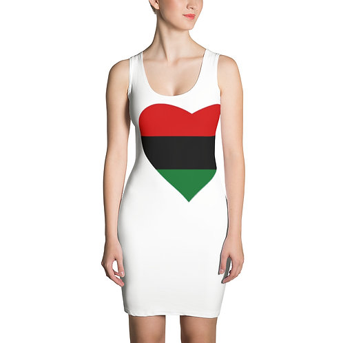 """White """"Pan African Love"""" Sublimation Cut & Sew Dress"""