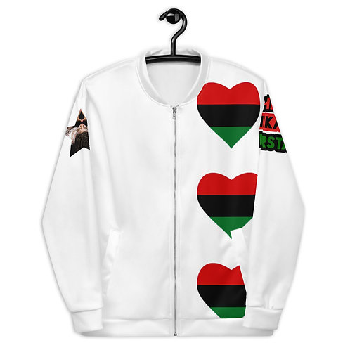 White Pan African Love Unisex Bomber Jacket