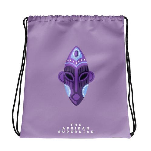 Lavender Orchid Mask Drawstring bag