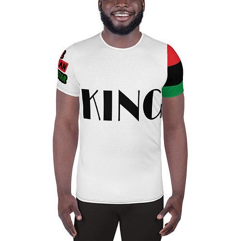 """White """"King"""" Men's Athletic T-shirt"""