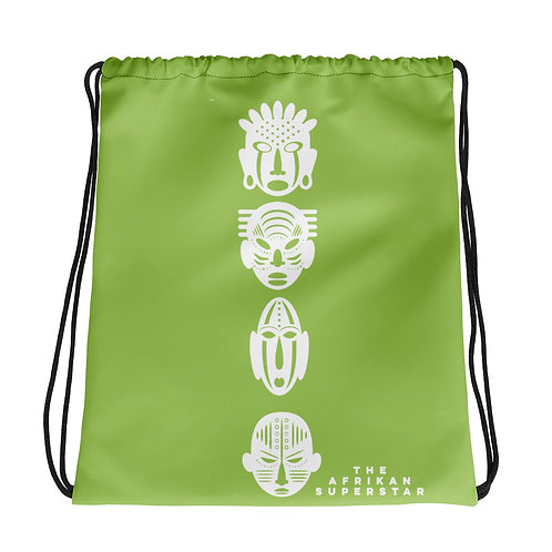 Light Green Ivory Quad Drawstring bag