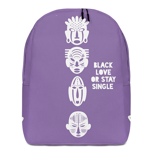 "Purple Quad Mask ""Black Love Or Stay Single"" Minimalist Backpack"