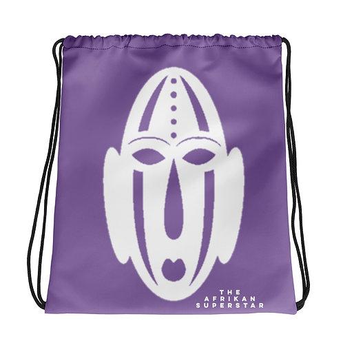 Purple Ivory Mask Drawstring bag