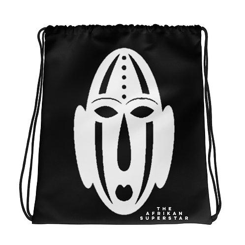 Black Ivory Mask Drawstring bag
