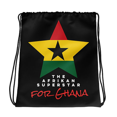 Black Ghana Star Drawstring bag