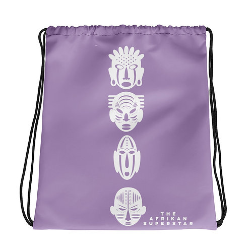 Light Purple Ivory Quad Mask Drawstring bag