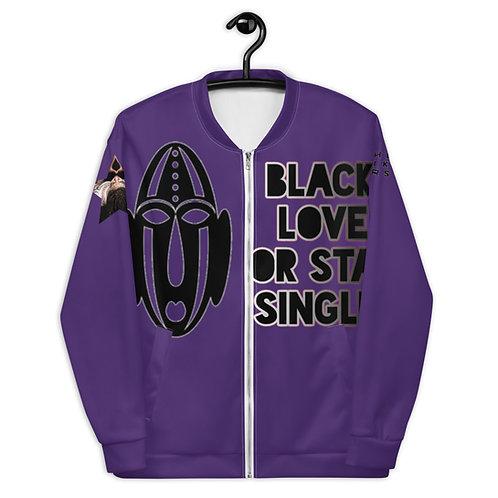 "Purple Warrior Mask ""Black Love or Stay Single"" Unisex Bomber Jacket"