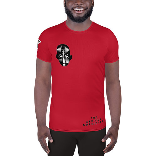 Men's Red Mask All-Over Print Athletic T-shirt