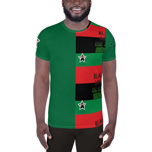 Green Pan African All-Over Print Men's Athletic T-shirt