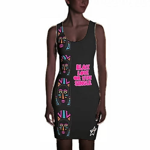 "Black Explosion ""Black Love or Stay Single"" Sublimation Cut & Sew Dress"