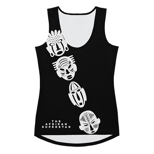 Black Ivory Cross Mask Sublimation Cut & Sew Tank Top