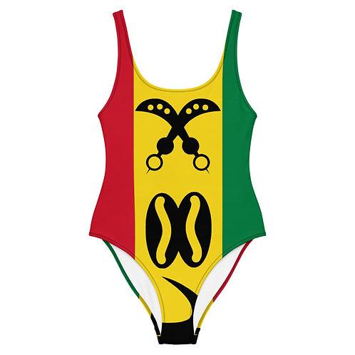 Ghanaian Flag Adinkra One-Piece Swimsuit