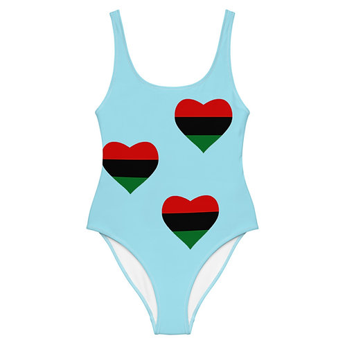 """Blue """"Pan African Love"""" One-Piece Swimsuit"""