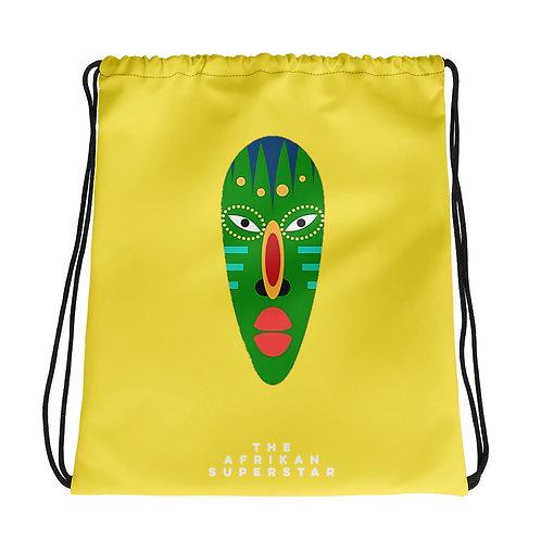 Yellow Jade Mask Drawstring bag