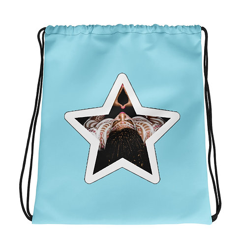 Light Blue Afrikan Superstar Drawstring bag