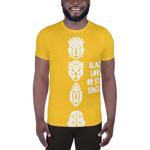 "Men's Vibrant Yellow ""Black Love Or Stay Single"" All-Over Print Athletic T-shirt"