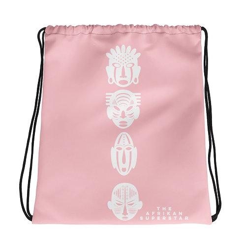 Light Pink Ivory Quad Mask Drawstring bag