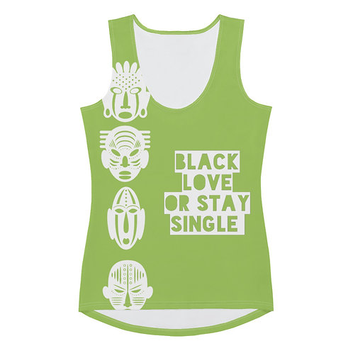 "Lime Quad Mask ""Black Love or Stay Single"" Sublimation Cut & Sew Tank Top"