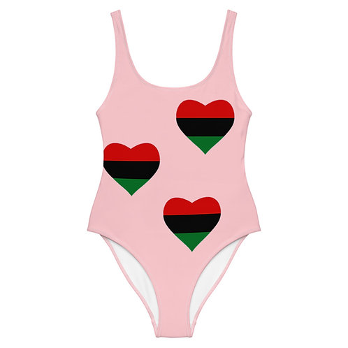"Pink ""Pan African Love"" One-Piece Swimsuit"