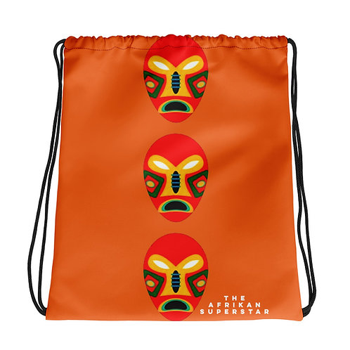 Orange Flame Mask Drawstring bag