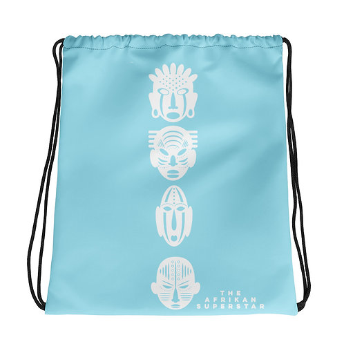 Light Blue Ivory Quad Mask Drawstring bag