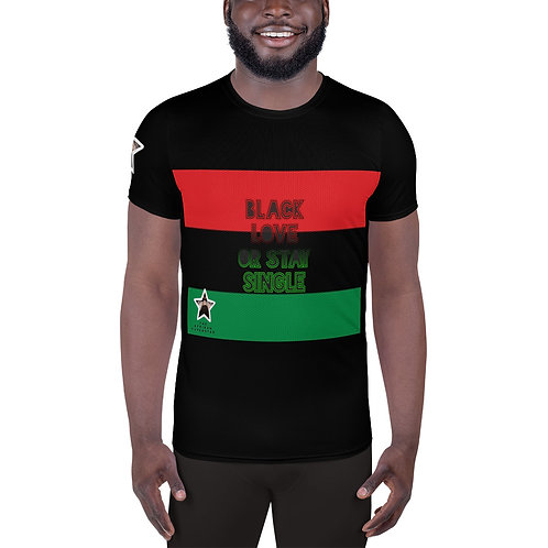 Black Pan African All-Over Print Men's Athletic T-shirt