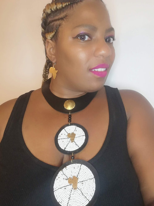 """""""Star of Africa"""" Double Disc Statement Collar Necklace & Earring Set"""