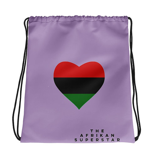 Purple Pan African Love Drawstring bag