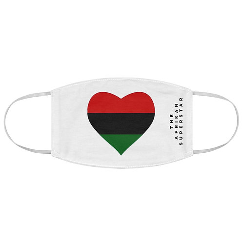 White Pan African Love Fabric Face Mask